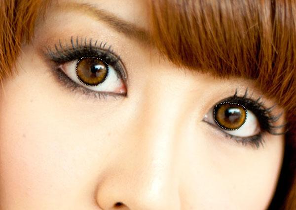 、選択ツールで瞳の部分を選択
